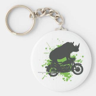 Rhino Biker Basic Round Button Keychain