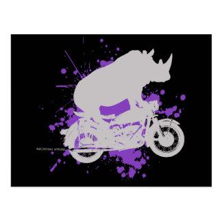 Rhino Biker Postcard