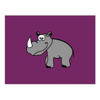 Rhino cute animal motifs postcard