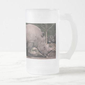 Rhino Double Head Frosted Glass Beer Mug