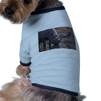 Rhino drinking at a watering place doggie shirt
