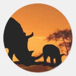 rhino family classic round sticker