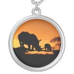 Rhino Family Pendants
