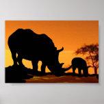 rhino family print