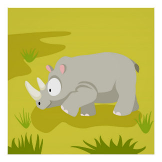 Rhino from my world animals serie poster