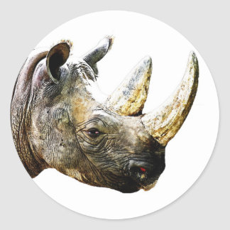 Rhino Head, White Background Classic Round Sticker