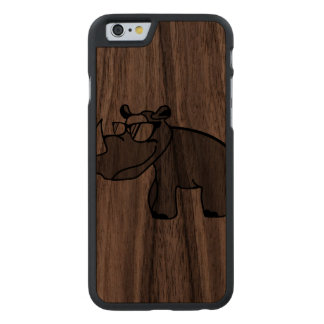 Rhino hipster cool animal designs carved® walnut iPhone 6 case