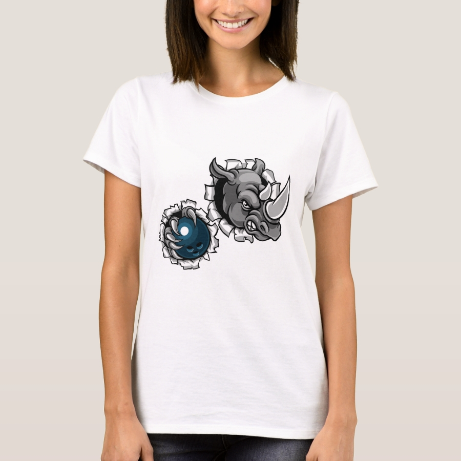 Rhino Holding Bowling Ball Breaking Background T-Shirt - Best Selling Long-Sleeve Street Fashion Shirt Designs