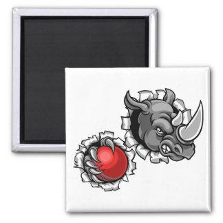 Rhino Holding Cricket Ball Breaking Background Magnet