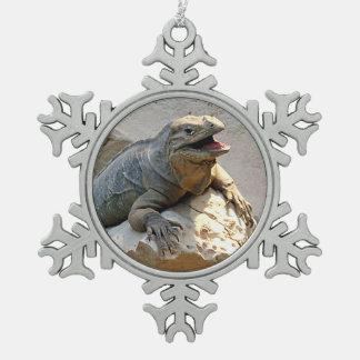 Rhino Iguana Snowflake Pewter Christmas Ornament