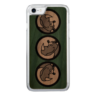 Rhino in a circle - cute animal motifs carved iPhone 7 case