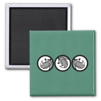 Rhino in a circle - cute animal motifs refrigerator magnets