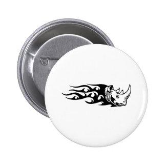 Rhino in Flames Pinback Button