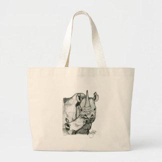 Rhino love jumbo tote bag