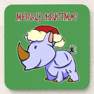 Rhino Merry Christmas Coaster