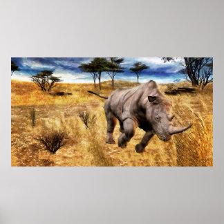 Rhino on the Serengeti Poster