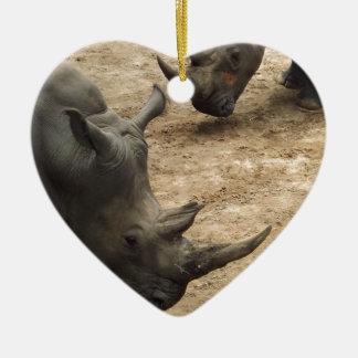 Rhino Double-Sided Heart Ceramic Christmas Ornament