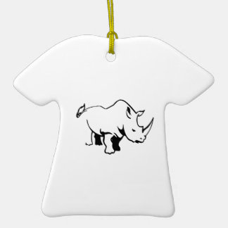 RHINO OUTLINE Double-Sided T-Shirt CERAMIC CHRISTMAS ORNAMENT