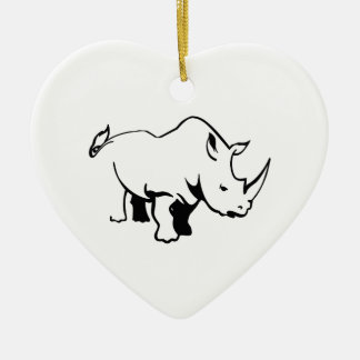 RHINO OUTLINE Double-Sided HEART CERAMIC CHRISTMAS ORNAMENT
