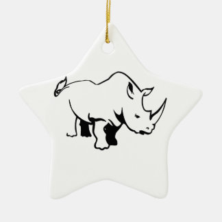 RHINO OUTLINE Double-Sided STAR CERAMIC CHRISTMAS ORNAMENT