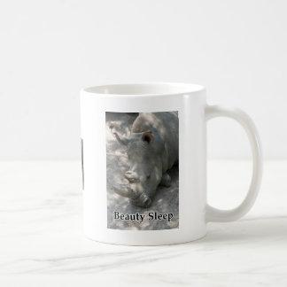 """Rhino photograph with """"Beauty Sleep"""" text Coffee Mug"""