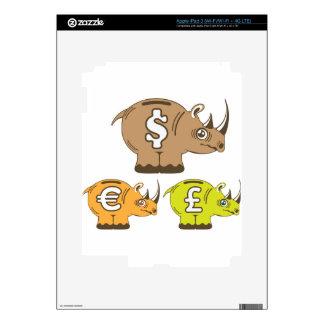 Rhino Piggy Bank vector iPad 3 Decal