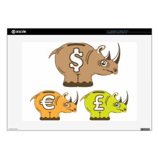 Rhino Piggy Bank vector Laptop Decals