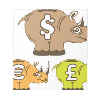 Rhino Piggy Bank vector Notepad