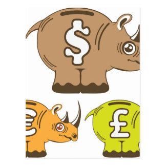 Rhino Piggy Bank vector Postcard