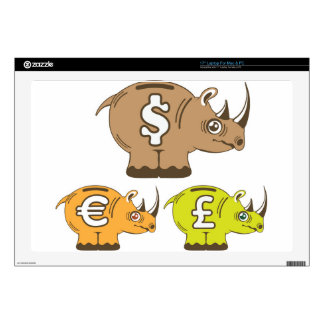 "Rhino Piggy Bank vector Skins For 17"" Laptops"