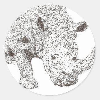 Rhino Pointillism Classic Round Sticker
