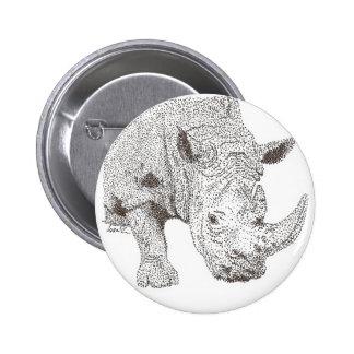 Rhino Pointillism Pinback Button