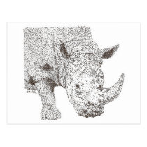 Rhino Pointillism Postcard