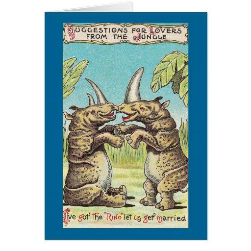 Rhino Proposal of Marriage Greeting Card