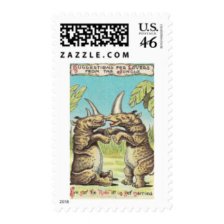 Rhino Proposal of Marriage Stamp