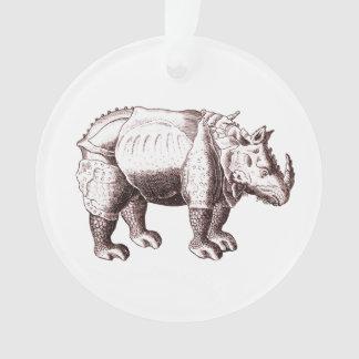 Rhino - Renaissance Style Drawing of a Rhinoceros Ornament