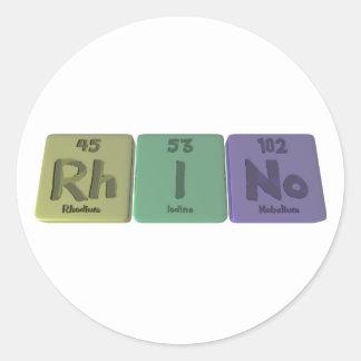 Rhino-Rh-I-No-Rhodium-Iodine-Nobelium.png Classic Round Sticker