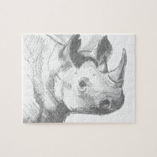 Rhino Rhinoceros Pencil Drawing sketch Jigsaw Puzzle