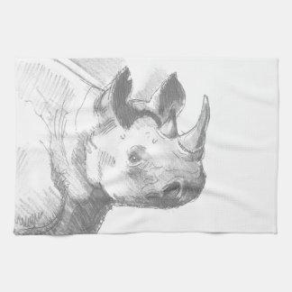Rhino Rhinoceros Pencil Drawing sketch Kitchen Towels