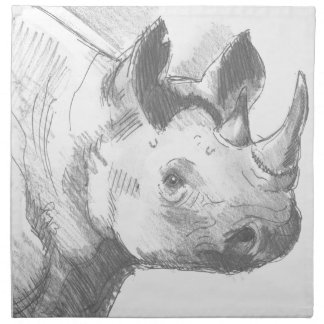 Rhino Rhinoceros Pencil Drawing sketch Napkins