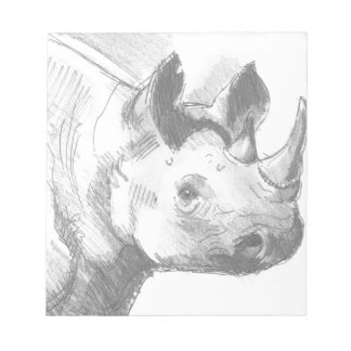 Rhino Rhinoceros Pencil Drawing sketch Notepad