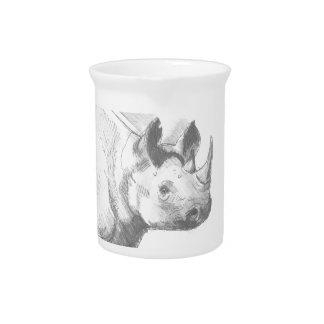 Rhino Rhinoceros Pencil Drawing sketch Beverage Pitchers