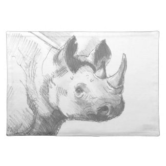 Rhino Rhinoceros Pencil Drawing sketch Placemats