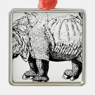 Rhino Rhinoceroses animal Africa safari nature Metal Ornament