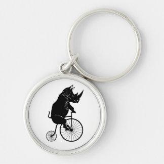 Rhino Rider on Penny Fathing Bicycle Keychain