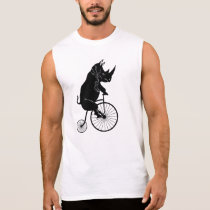 Rhino Rider on Vintage Bike Sleeveless Shirt