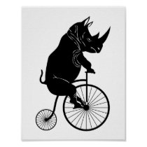 Rhino Riding Penny Farthing Bicycle Poster