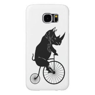 Rhino Riding Penny Farthing Bicycle Samsung Galaxy S6 Case