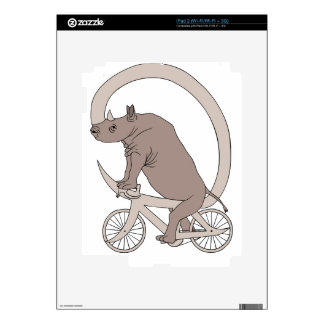 Rhino Riding With Its Horn Bike Decal For iPad 2