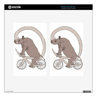 Rhino Riding With Its Horn Bike Decal For Kindle Fire